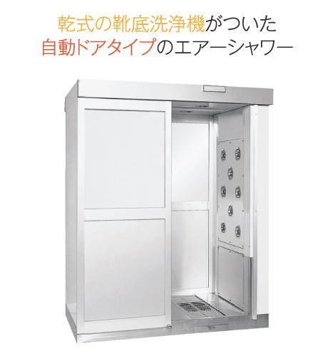 湿式の靴底洗浄機がついた手動ドアタイプのエアーシャワー 清潔くん GSD-A2001 / GSD-A36